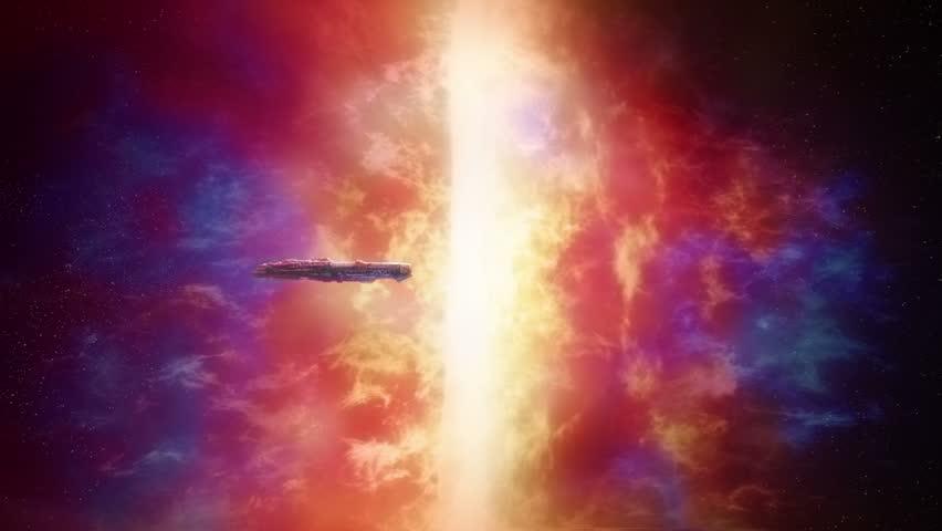 Spaceship Near Huge Colorful Nexus | Shutterstock HD Video #1022661982
