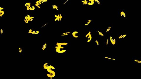 Signs of dollar, euro, pound and yen falling on the black background