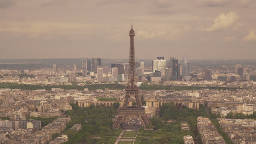 Large view of the city of Paris with the Eiffel Tower and the La Defense district behind, France | Shutterstock HD Video #1022819692