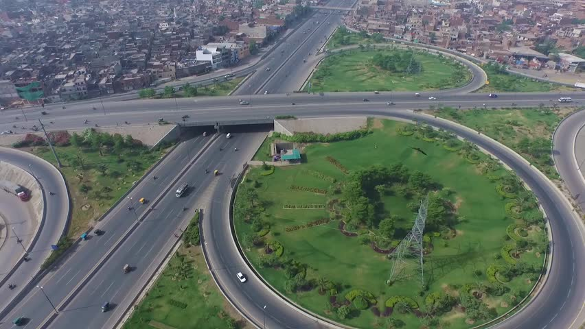 Aerial view of the new interchanges on the Ring Road in Lahore, Pakistan | Shutterstock HD Video #1022842222