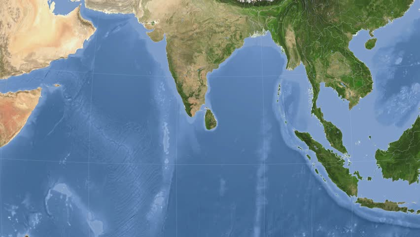 Sri Lanka On The Satellite Map Outlined And Glowed Elements Of