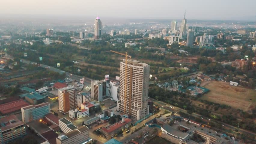 Nairobi Kenya East Africa sunrise cityscape urban landscape drone footage | Shutterstock HD Video #1022899612