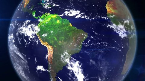 Realistic earth zoom out from south America