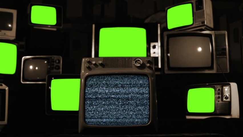 "Malfunction Old Tvs with Green Screen. Sepia Tone. You can replace green screen with the footage or picture you want with ""Keying"" effect in After Effects  (check out tutorials on YouTube). 