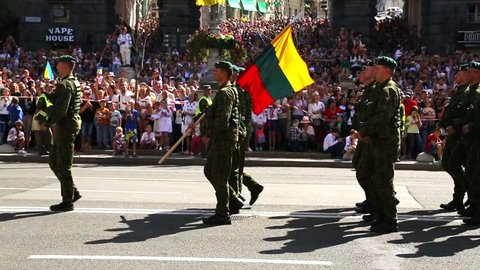 KYIV, UKRAINE, AUGUST 24, 2018:Lithuanian soldiers on parade in Kiev