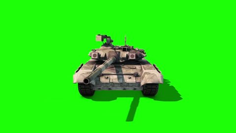 Tank Animated Tracks Military Patrolling Front Green Screen 3D Rendering Animation