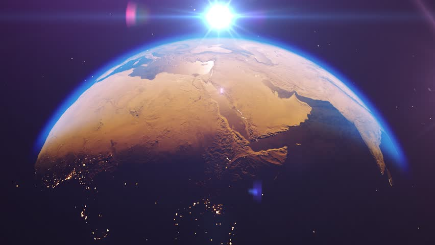 Beautiful sunrise world skyline. Planet earth from space. Planet earth rotating animation. Clip contains space, planet, galaxy, stars, cosmos, sea, earth, sunset, globe. 4k 3D Render. Images from NASA | Shutterstock HD Video #1023157912