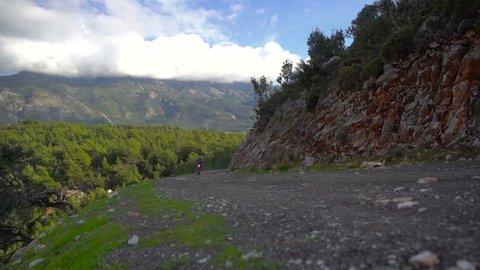 Enduro Motocross Pilot Trainning on the mountain