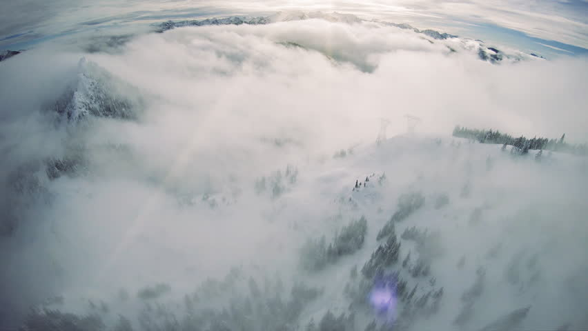 Washington State Winter Aerial of Lowland Fog in Mountain Range Valley #1023218032