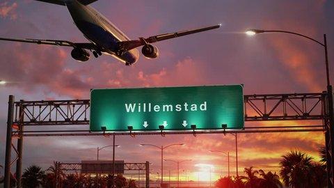 Airplane Landing Willemstad during a wonderful sunrise