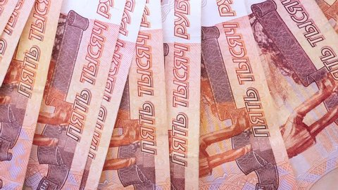 Five thousand russian ruble currency banknotes. Rotation paper money close up.