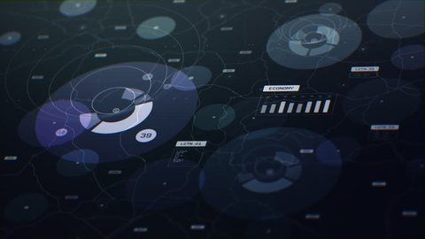 3D animation of 2D circular graphs and charts against a linear background in light purple and green colors. Created in 4k.