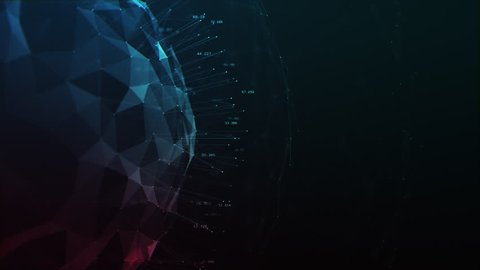 3D animation of circular sphere graphing and showing data points and charts, in red, purple and blue colors against a black background. Created in 4k