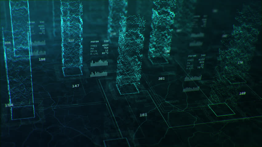 3D animation showing multi core processing and data points, in bright green colors. Created in 4k