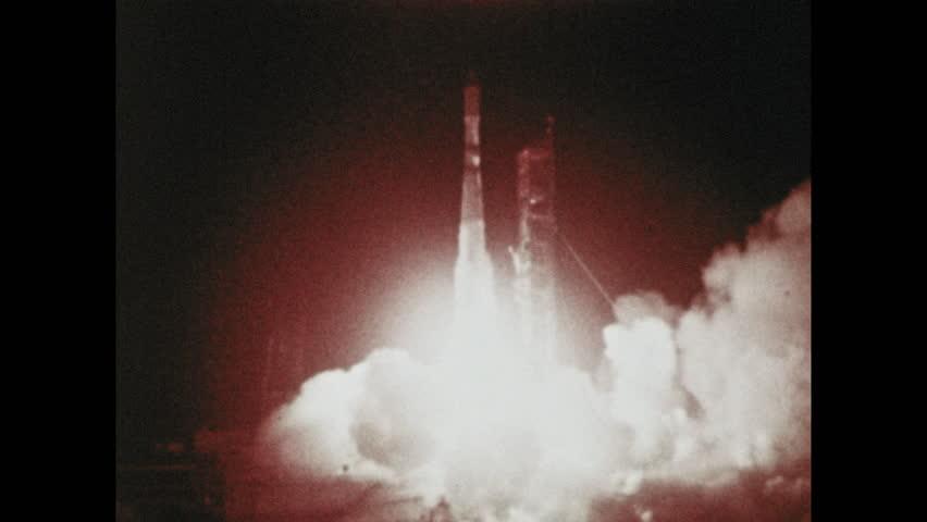 1960s: Rocket launches in dark. Berkeley University campus. Space laboratory on hillside. | Shutterstock HD Video #1023283012