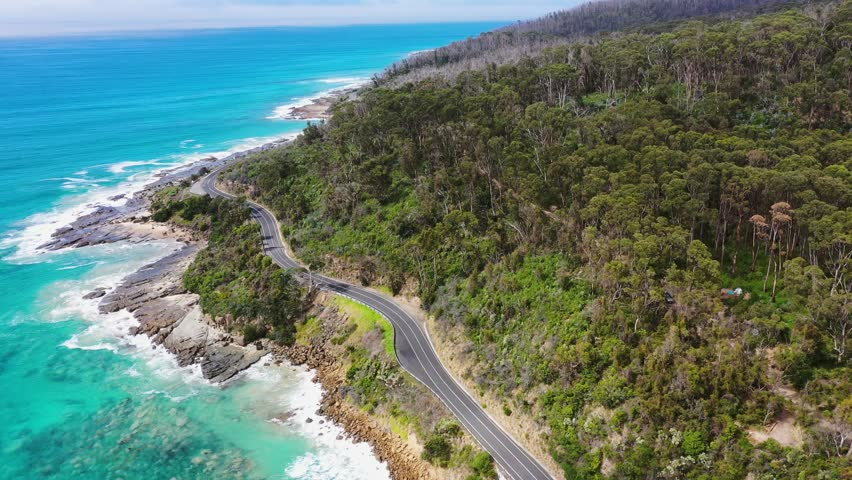 Smooth 4K drone footage of the beautiful Great Ocean Road in Victoria, Australia