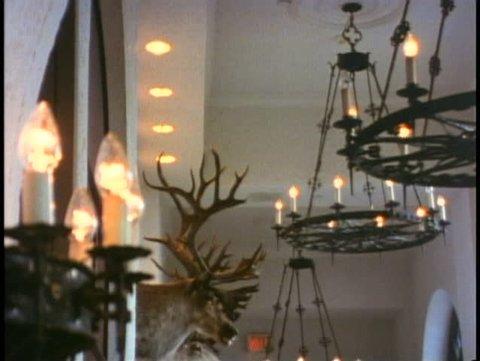 BANFF NATIONAL PARK, ALBERTA, 1990, Chateau Lake Louise Hotel, lobby, antlers