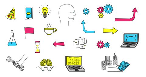 Set of animated doodle icons. Business, technology, work, finance and more. Alpha channel is included.