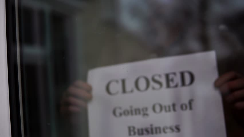 Closed Going Out Of Business Sign Placed At Store Front Window, 4K Recession.  | Shutterstock HD Video #1023323662