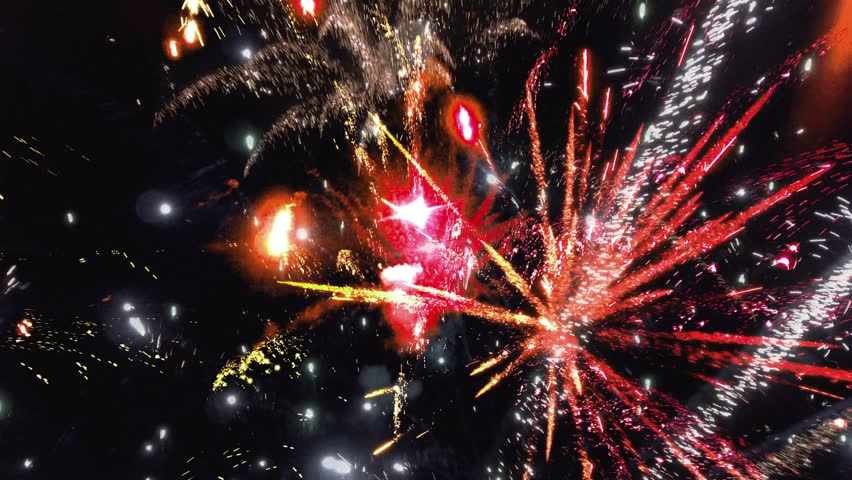 Abstract colorful bright fireworks background for celebrate. Fireworks in slow motion seamless loop. | Shutterstock HD Video #1023354022