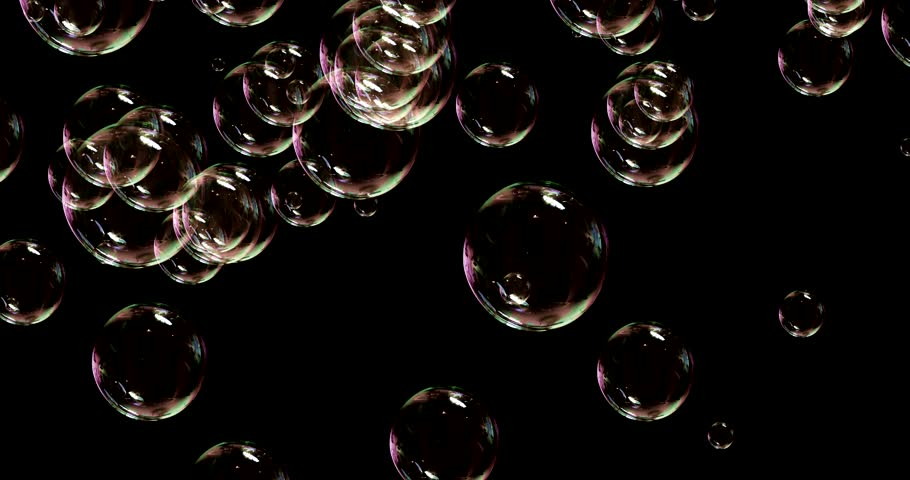 soap bubbles isolated on black background, seamless loop 4k 3d render