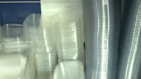 Clean empty plastic boxes close up  many transparent plastic storage at  kitchen  containers for food packaging