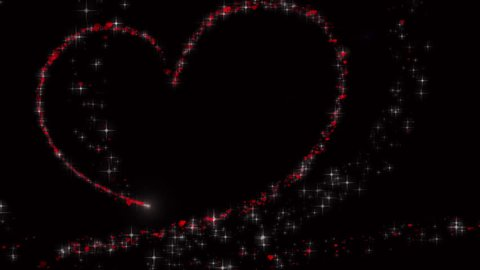 Hearts background, Valentine Day red heart running on black background. Saint Valentines greeting card motion design.
