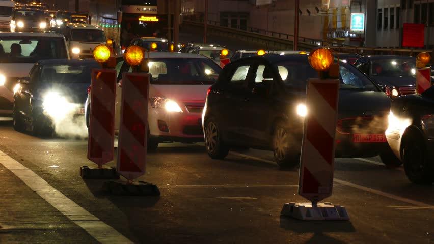 Traffic jam on Hochstrasse at Breitenweg at dusk, Bremen, Germany, Europe