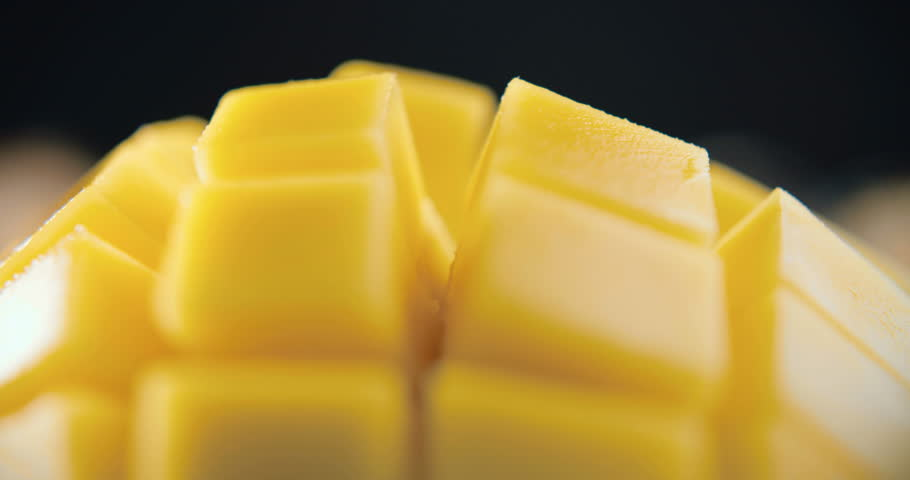 Fresh Sliced Mango Squared in 4k Macro Shooting