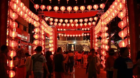Nakhon Ratchasima,Thailand - 6 February 2018 : Chinese New Year with beautiful lamps have many visitors at Nakhon Ratchasima province ,Thailand