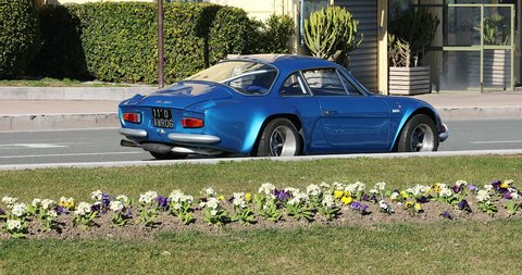 Nice, France - February 6, 2019:  Alpine Renault A110 Berlinette, Vintage French Car Badly Parked On The Road In Nice On The French Riviera, France, Europe - DCi 4K Video
