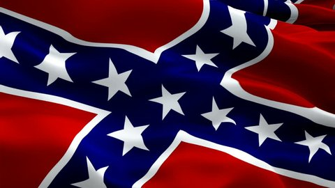 Confederate flag video waving in wind. Realistic Rebel Flag background. Civil war Flag Looping Closeup 1080p Full HD 1920X1080 footage. Confederate States of America flags footage video for film,news