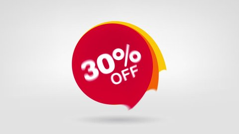 Motion Red Tag. Price Discount and Special Offer. 30% Off Season Summer Sale. Online Shopping Animation Promo Banner 4K Loop able Footage.