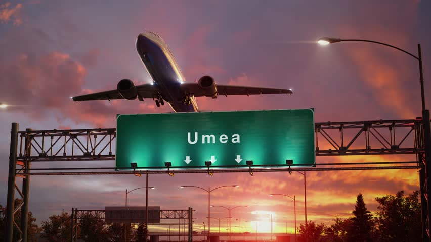 Airplane Take off Umea during a wonderful sunrise | Shutterstock HD Video #1023752992