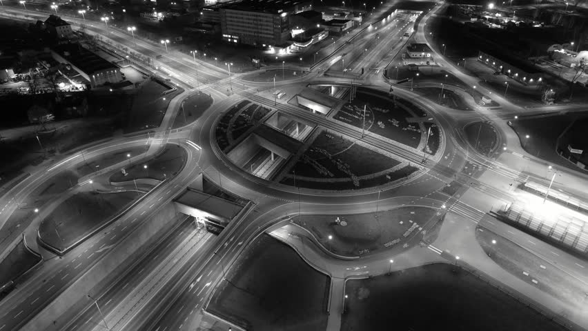 Aerial City Junction Traffic Time Lapse at Night | Shutterstock HD Video #1023756052