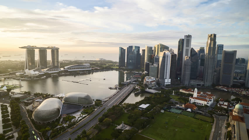 4k aerial time lapse of cloudscape at Singapore city skyline. Pan left | Shutterstock HD Video #1023847222