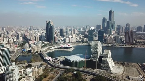 Aerial view of the city in Qijin Kaohsiung