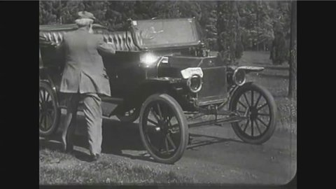 CIRCA 1910s - Scenes of cars on the roads of America in 1919.