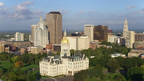 Hartford, Connecticut / United States - August 25 2018: Hartford Connecticut City Skyline, Capitol Building, Aerial Drone