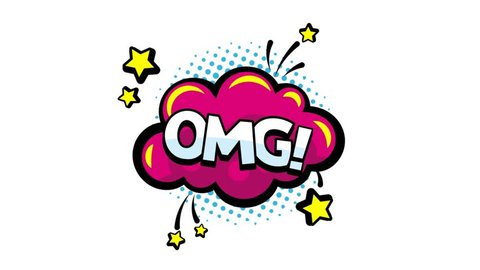 OMG word animation for blogging, streaming and following in social networks and vlog in internet media. Comics speech bubbles with moving text omg. Motion graphic. PNG plus alpha channel