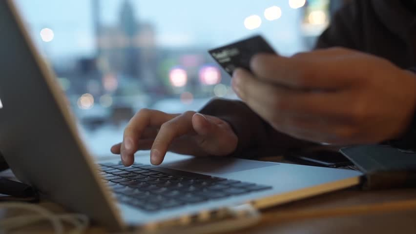 Online internet shopping checkout with credit card payment | Shutterstock HD Video #1023947012