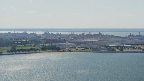 Norfolk Virginia Aerial v40 Panoramic view of Naval Shipyards 10/17