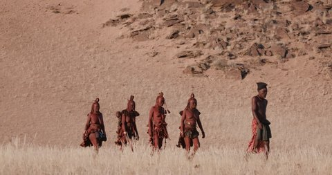4K view of people from the Himba tribe walking in the Namib Desert,Namibia