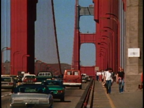 SAN FRANCISCO, CALIFORNIA, 1979, Golden Gate Bridge, traffic and pedestrians