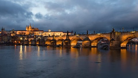 Day to night time lapse of Prague old town and Charles Bridge, Czech Republic
