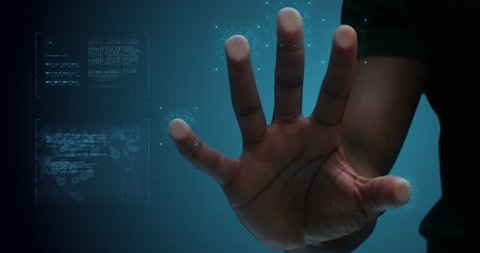 Futuristic digital processing of fingerprints as person's hand presses against a scanner. For futuristic digital technology applications. Shot on 4k RED camera.