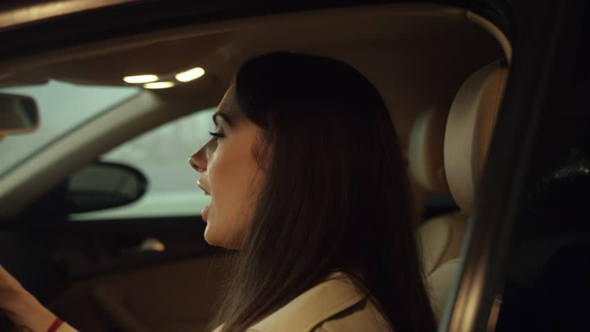 Beautiful woman driving a car at the evening | Shutterstock HD Video #1024137722