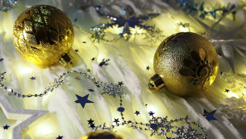 Christmas and New Year background with shiny balls, sparkling snowflakes and confetti. | Shutterstock HD Video #1024156412