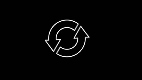 Arrows ecology icon animation with black png background 4K.
