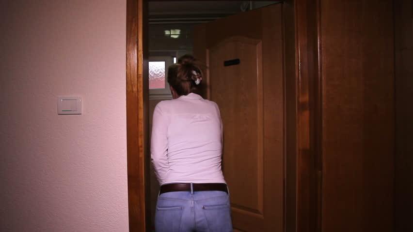 Toilet Rush Urgency - HD stock footage clip & 1950s: Elevator Door Held Open With Block Of Wood. Man Removes Wood ...